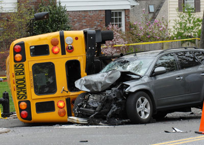 bus and auto accident